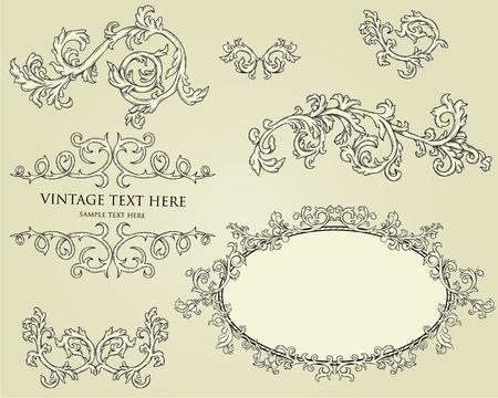 calligraphique: Collecte des �l�ments de conception de calligraphie. Cadres, deviders la page, les bordures, etc