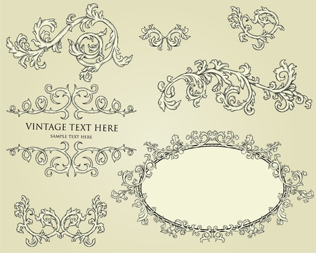 baroque border: Collection of calligraphy design elements. Frames, page deviders, borders, etc Illustration