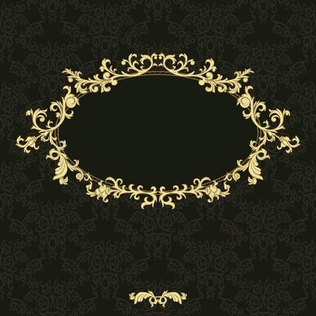 vintage background: Vintage frame on damask background