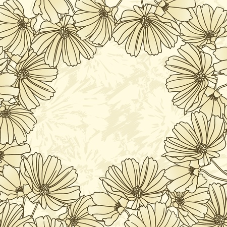 Floral frame with hand drawn flowers Vectores