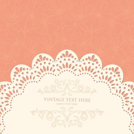 veters: Retro achtergrond met bloemmotief en kant