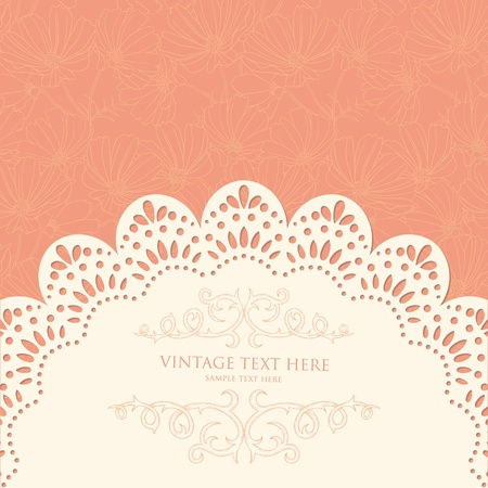 Retro background with floral pattern and lace Vector