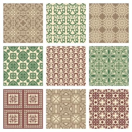 Set of nine seamless pattern in retro style 일러스트