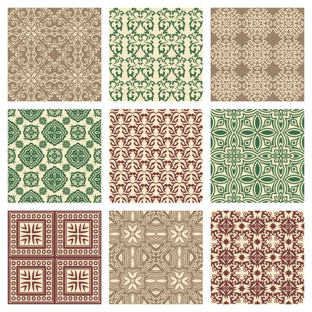 textiles: Set of nine seamless pattern in retro style Illustration