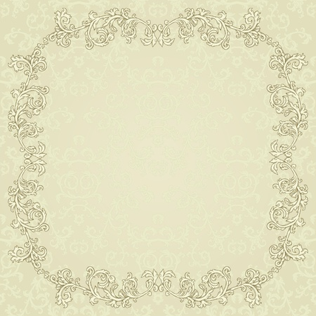 Vintage background with damask pattern in retro style Vector