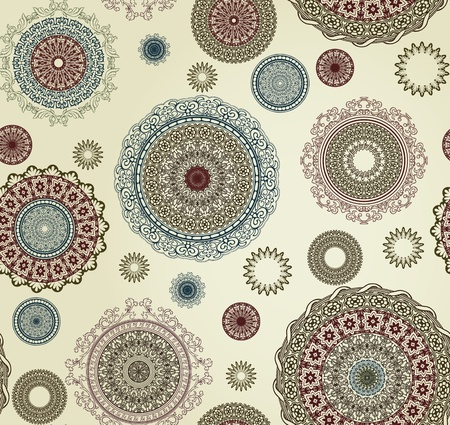 beige: vintage seamless pattern with circles
