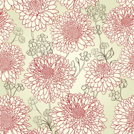 Floral seamless pattern with hand drawn flowers. 矢量图像