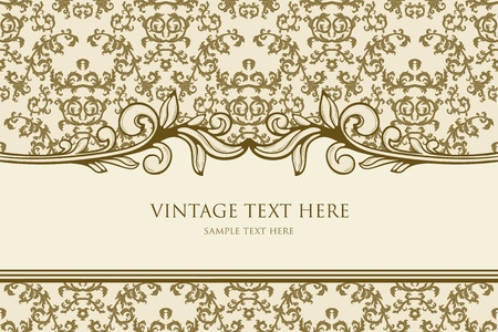 Vintage frame with damask background Vector