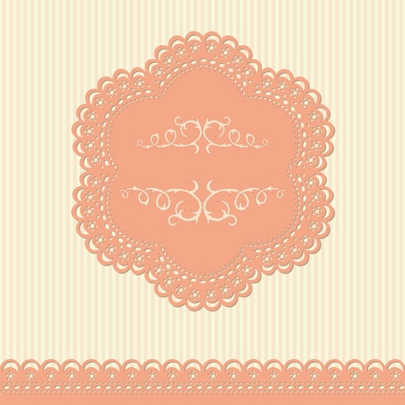 Retro background with lace and floral wallpaper Illustration