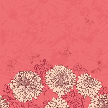 flower drawings: Floral frame with hand drawn flowers Illustration
