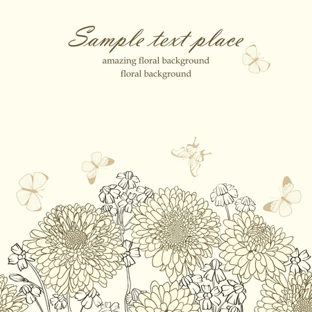 swirly design: Elegant vintage floral background with set of different flowers