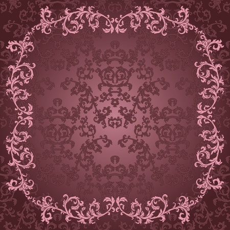 Detailed vintage card with damask wallpaper on gradient background Vector