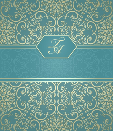 baroque border: Detailed vintage card with damask wallpaper on gradient background