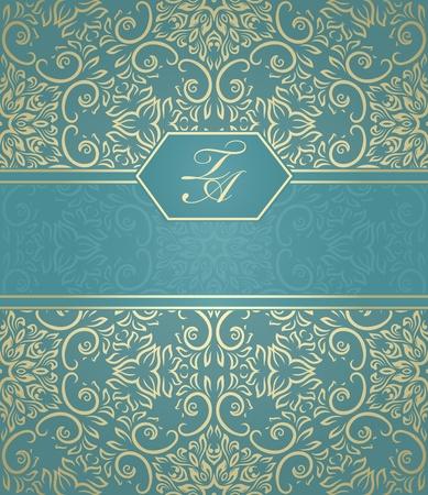 barocco: Dettagliata carta vintage con damasco sfondo gradiente di sfondo