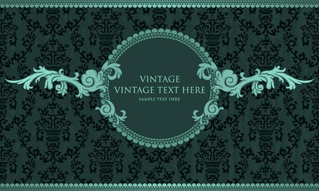 baroque border: Detailed vintage card with damask wallpaper on blue grunge background