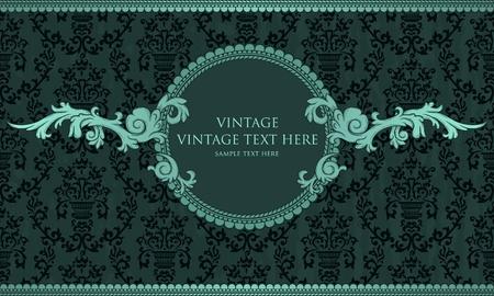 Detailed vintage card with damask wallpaper on blue grunge background