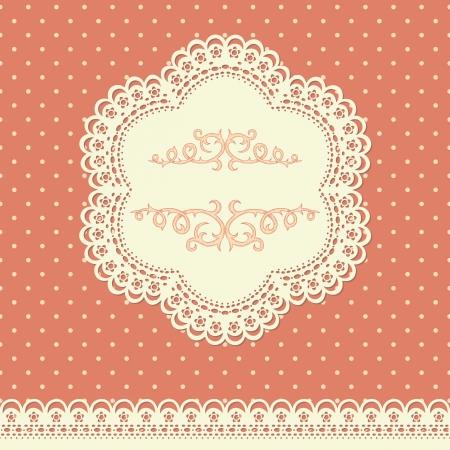 veters: Retro achtergrond met kant en polka-dot wallpaper