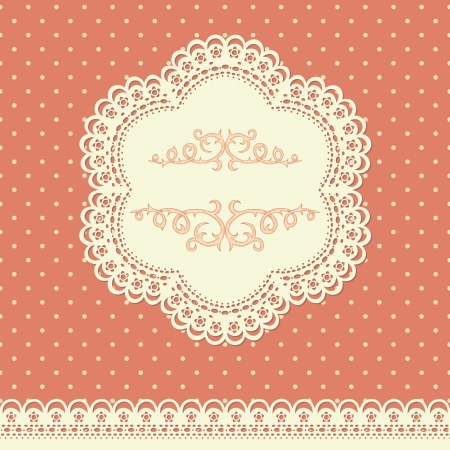 lace frame: Retro background with lace and polka-dot wallpaper Illustration