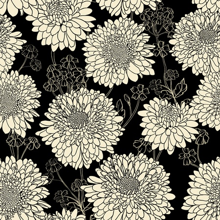 Floral seamless pattern with hand drawn flowers. Black and white Illustration