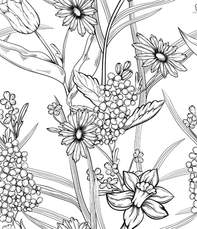 Hand drawn floral wallpaper with set of different flowers. Could be used as seamless wallpaper, textile, wrapping paper or background Ilustração