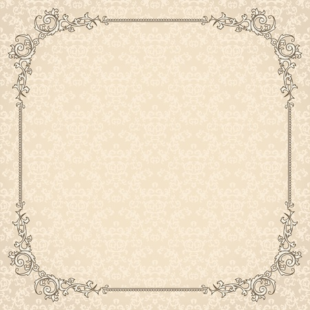 Detailed vintage card with damask wallpaper on beige background Vector