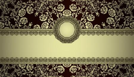 vintage frame on damask background Stock Vector - 13251762