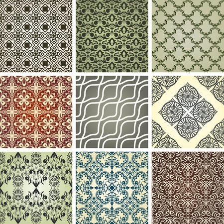 set of 9 seamless patterns in retro style Stock Vector - 13254926
