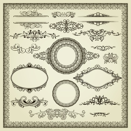 bordes decorativos: Conjunto de elementos de diseño etiquetas, bordes, marcos, etc Podría ser utilizado para la decoración de la página, certificado, etc Vectores