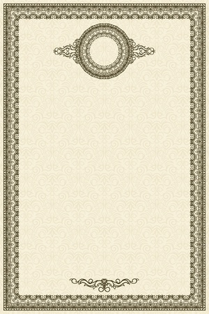Vintage frame on damask seamless background  Could be used for invitation, certificate or diploma Vector