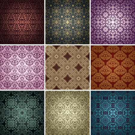 set of 9 seamless patterns in retro style