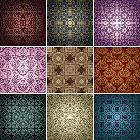 tegelwerk: set van 9 naadloze patronen in retro-stijl