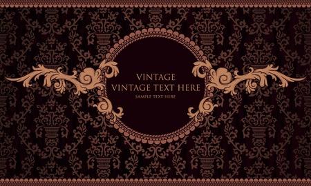 vintage frame on damask background Vector