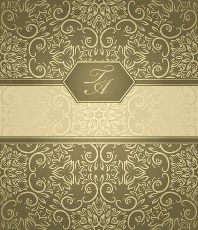 ダマスク織壁紙ベージュ色の背景上で詳細なビンテージ カード