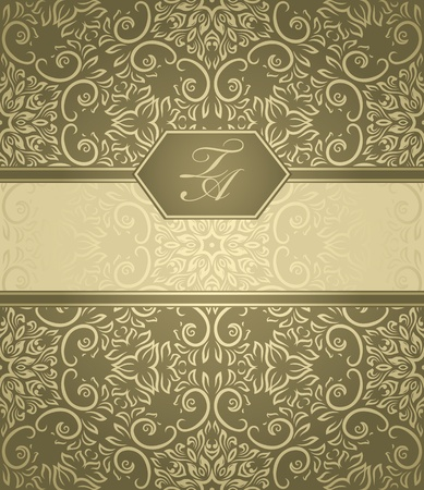 victorian wallpaper: Detailed vintage card with damask wallpaper on beige background