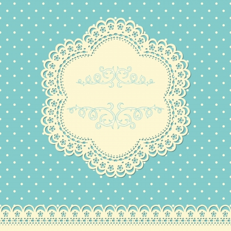 Retro background with lace and doted wallpaper