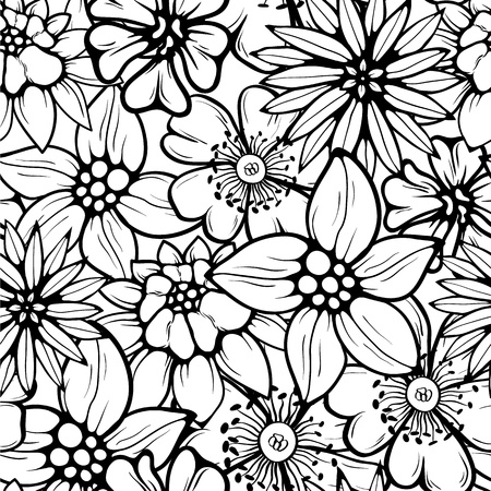 Hand drawn floral wallpaper with set of different flowers. Could be used as seamless wallpaper, textile, wrapping paper or background Vettoriali