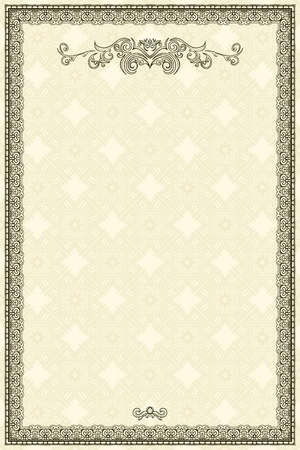 Vintage frame or diploma on damask background. Vector