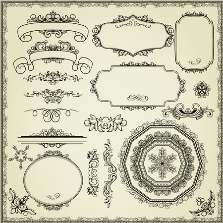 vintage retro frame: Lots of design elements: labels, borders, frames, etc. Could be used for page decoration, certificate, etc