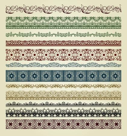 bordes decorativos: Juego de las fronteras de la vendimia. Se puede utilizar como divisor, marco, etc