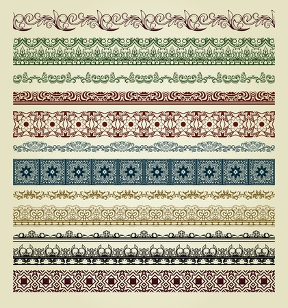 Set of vintage borders. Could be used as divider, frame, etc Stock Vector - 13294790