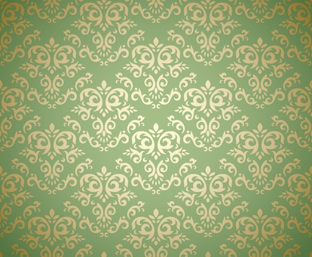 Damask seamless pattern on gradient background stylized like textile. Could be used as repeating wallpaper, textile, wrapping paper, background, etc Vector
