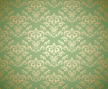 Il modello senza cuciture del damasco sul fondo di pendenza ha stilizzato come la tessile. Potrebbe essere usato come carta da parati, tessuto, carta da imballaggio, sfondo, ecc