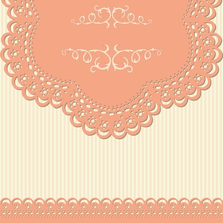 Retro background with lace and lined wallpaper Vector