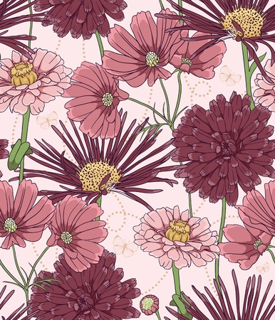 Floral seamless pattern with hand drawn flowers. Vector