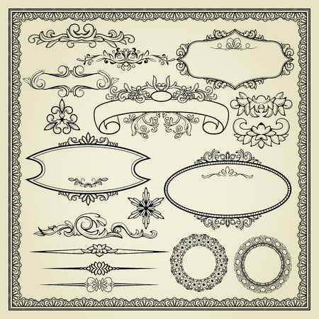 Set of design elements: labels, borders, frames, etc. Could be used for page decoration, certificate, etc Vector