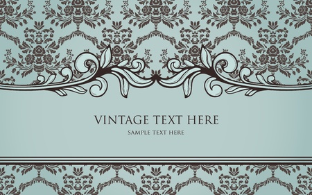 could: Vintage frame on damask seamless background. Could be used for invitation, certificate or diploma Illustration