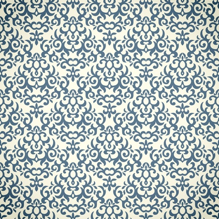 blue print: Damask seamless pattern . Could be used as repeating wallpaper, textile, wrapping paper, background, etc. Illustration