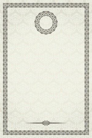 Vintage frame on damask seamless background. Could be used for invitation, certificate or diploma Ilustrace