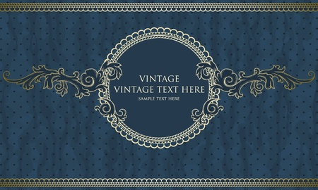 baroque border: Vintage frame with polka-dot background