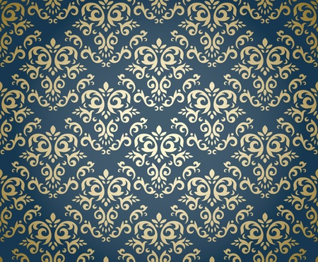 modular: Damask seamless pattern on gradient background stylized like textile  Could be used as repeating wallpaper, textile, wrapping paper, background, etc